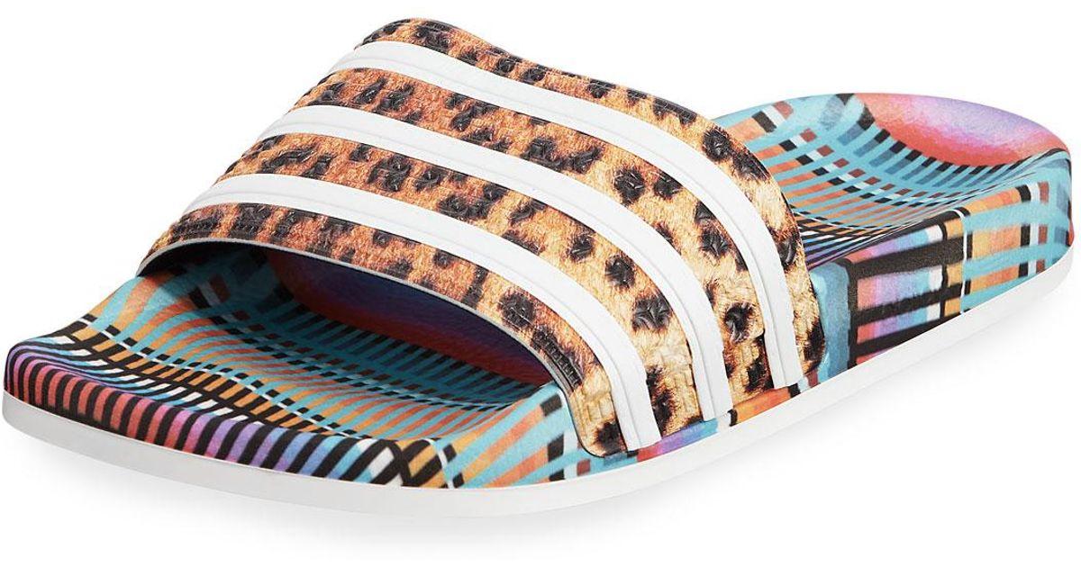 cdbf7d150eb8 adidas Adilette Bright Leopard-print Pool Slide Sandals in Blue for Men -  Lyst
