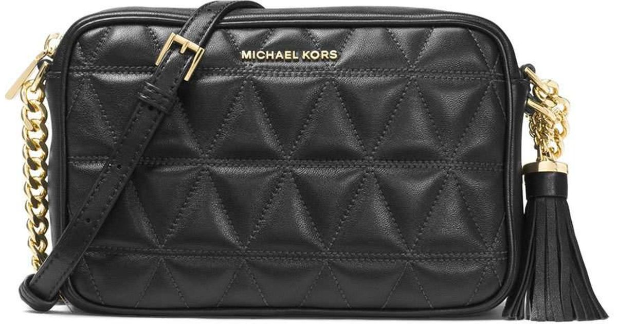 59190d4a7179 Lyst - MICHAEL Michael Kors Ginny Medium Quilted Camera Bag in Black