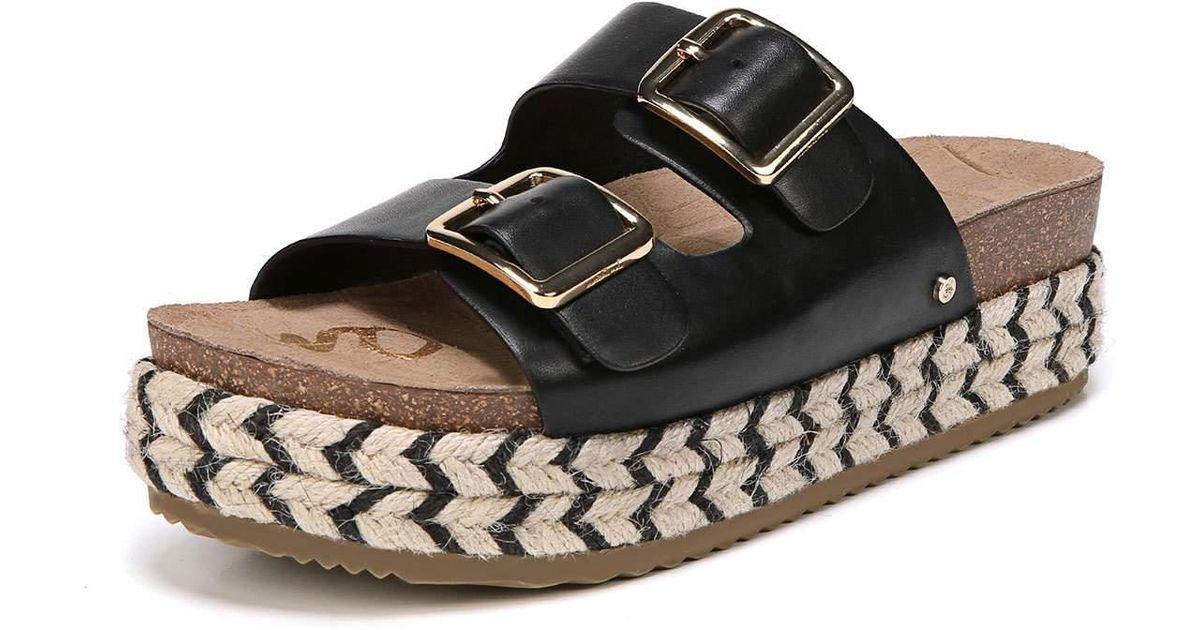 bcb26681d35e Lyst - Sam Edelman Oakley Leather Platform Espadrille Slide Sandal in Black