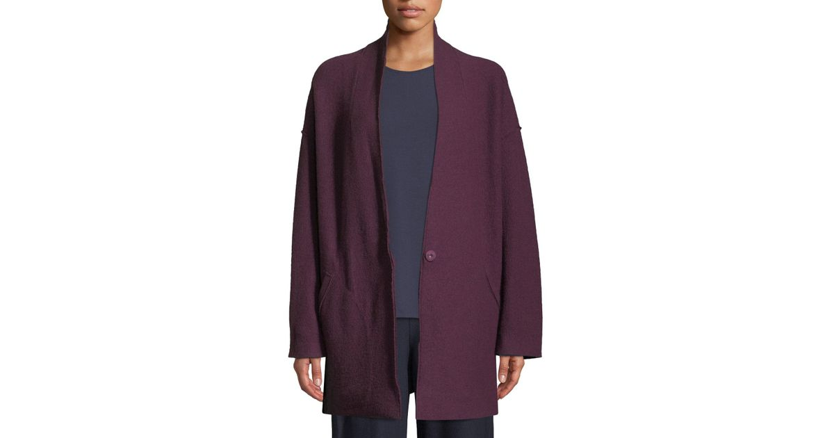 02c9bcf4fe0 Lyst - Eileen Fisher Petite Lightweight Boiled Wool Kimono Jacket in Purple  - Save 5%