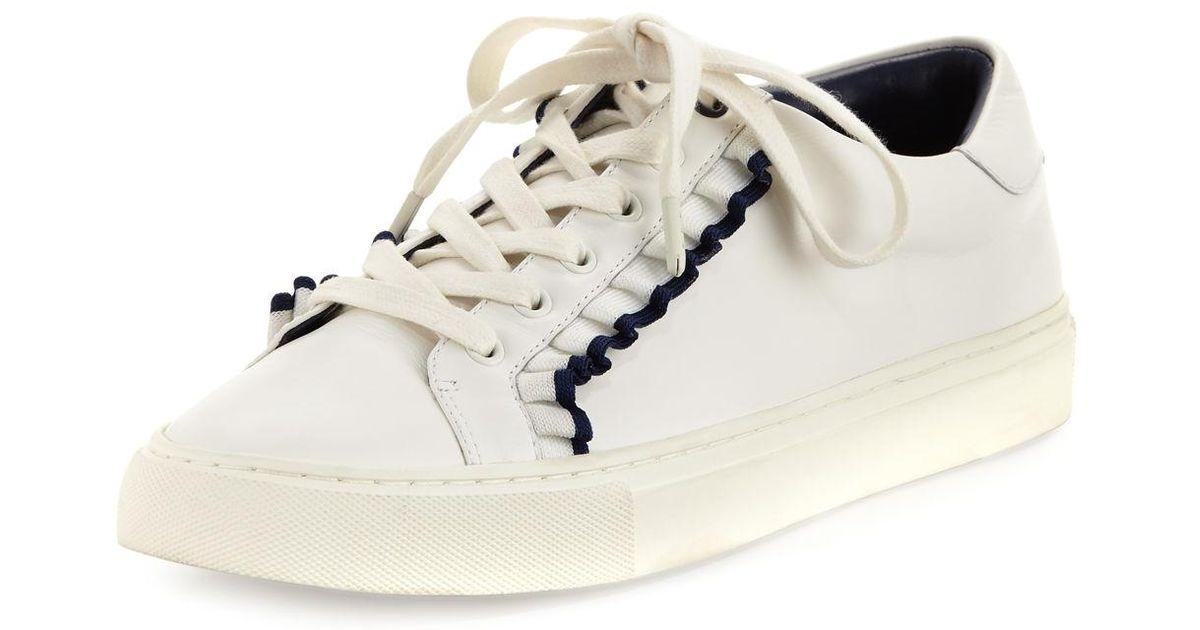 47287eee7 Lyst - Tory Burch Ruffle Leather Low-top Sneaker in White