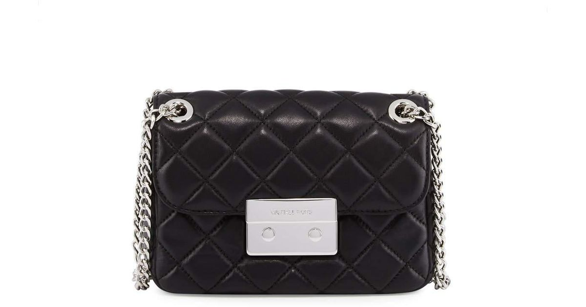 b20fcc411b09 Lyst - Michael Kors Sloan Small Quilted-leather Shoulder Bag in Black