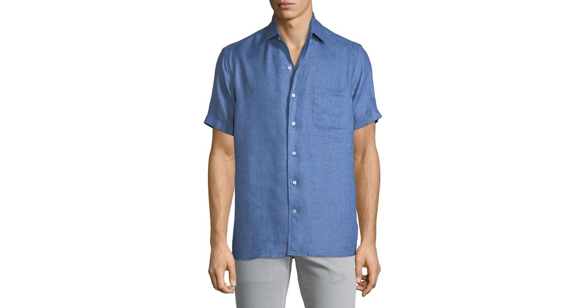 c07345068 Loro Piana Men's Arizona Linen Short-sleeve Sport Shirt in Blue for Men -  Lyst