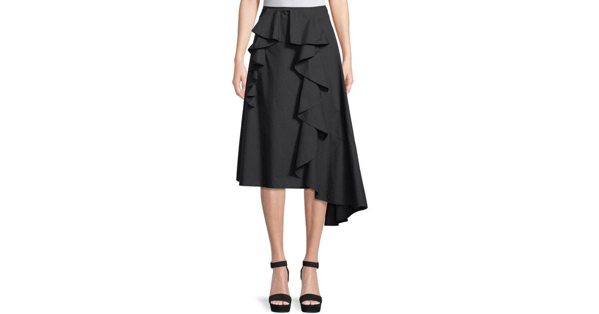 31d36396f Acne Studios Hamina Poplin A-line Skirt With Side Ruffle in Black - Lyst