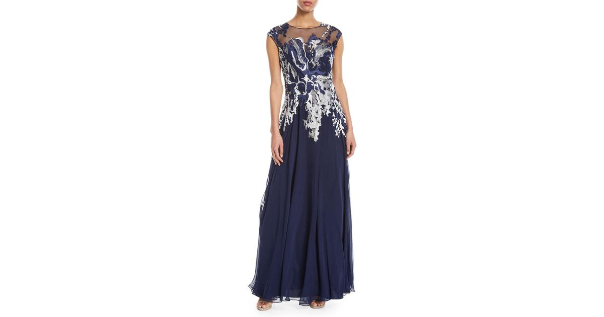 221b73889db Lyst - Teri Jon Embellished Illusion Button-down Gown in Blue