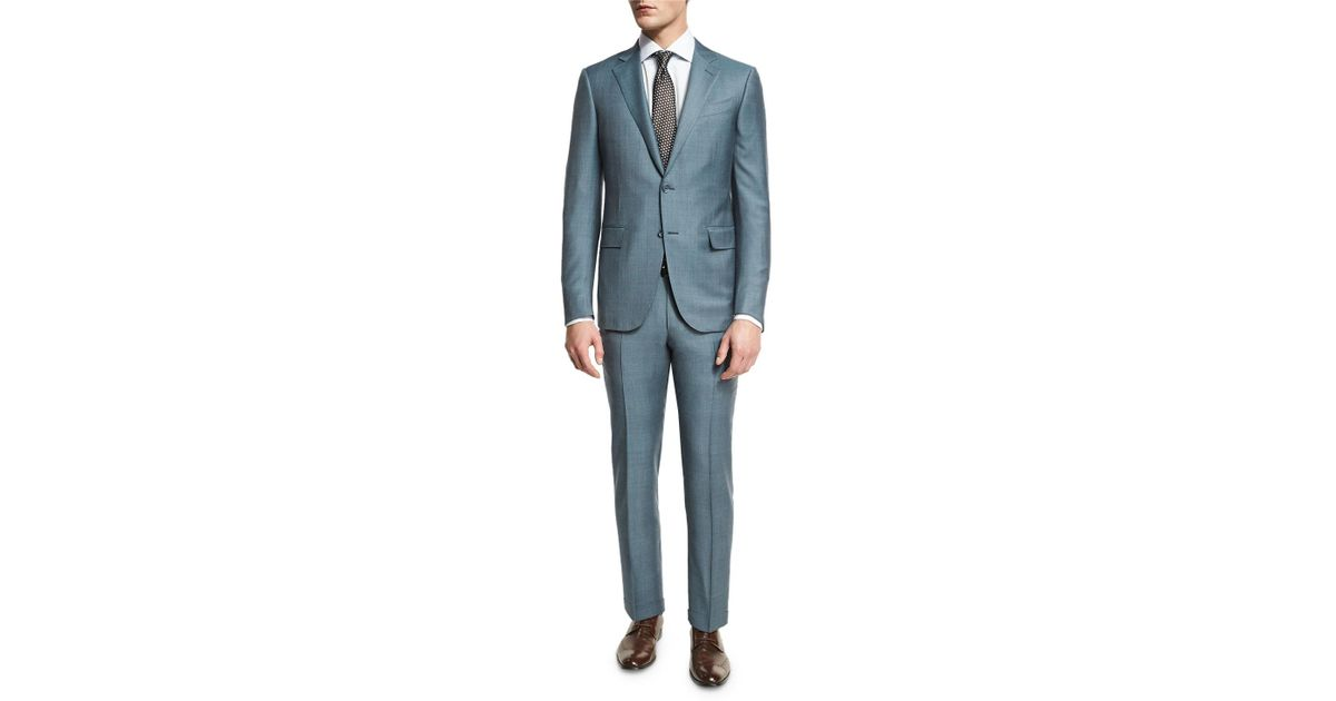 Lyst - Ermenegildo Zegna Trofeo® Tonal Plaid Two-piece Suit in Blue for Men a0ccb9103b79