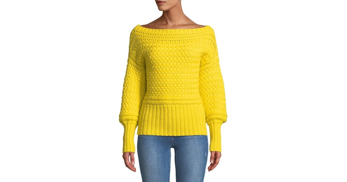 c3f04d743324 Lyst - Tanya Taylor Marie Cable-knit Off-shoulder Sweater in Yellow