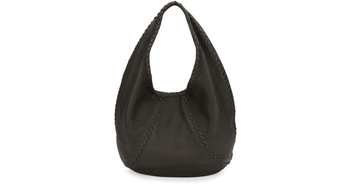 ac463641a5b Lyst - Bottega Veneta Cervo Large Leather Hobo Bag in Gray