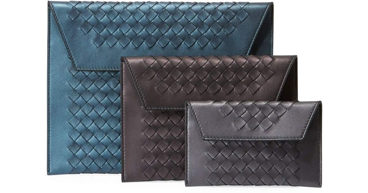 0bf7b060033 Lyst - Bottega Veneta Three-in-one Nesting Woven Leather Pouch Bags in Blue