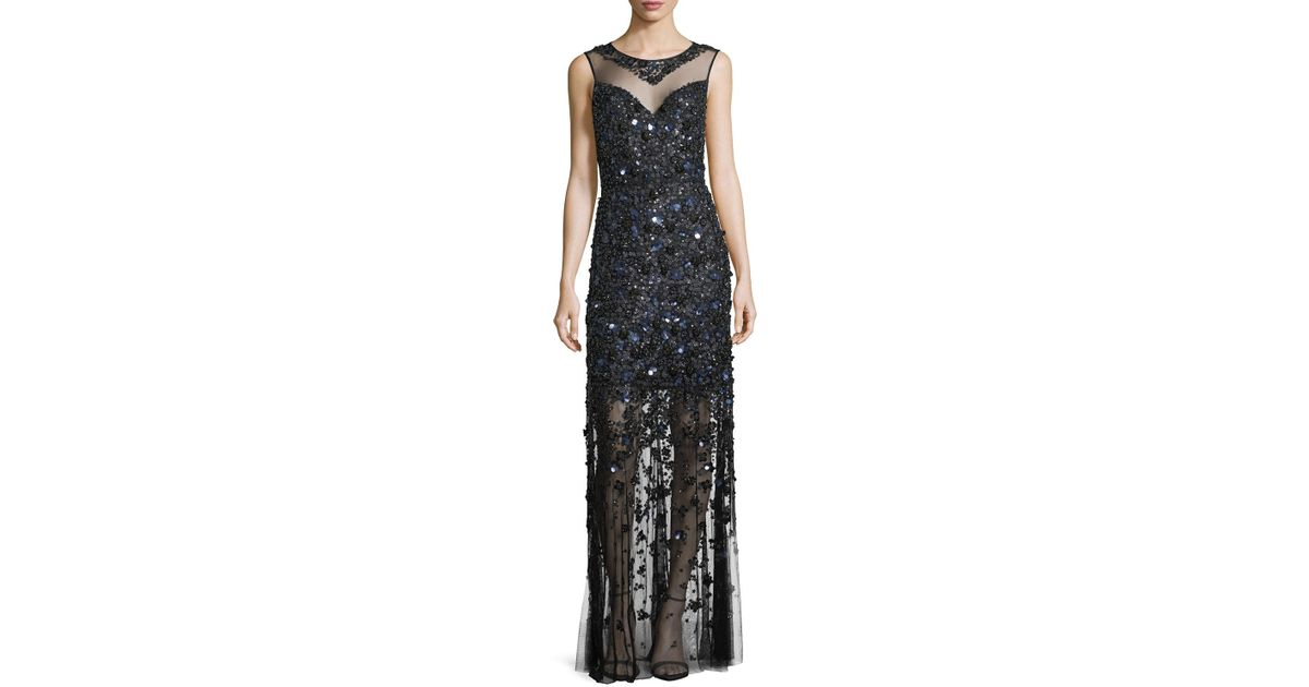 Lyst - Elie Tahari Augenie Sleeveless Illusion Floral Appliqué Gown ...