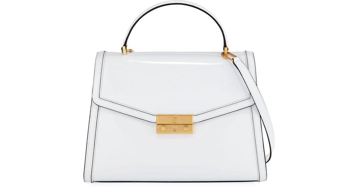 a2b47d0cfa3f Lyst - Tory Burch Juliette Patent Top Handle Satchel Bag in White