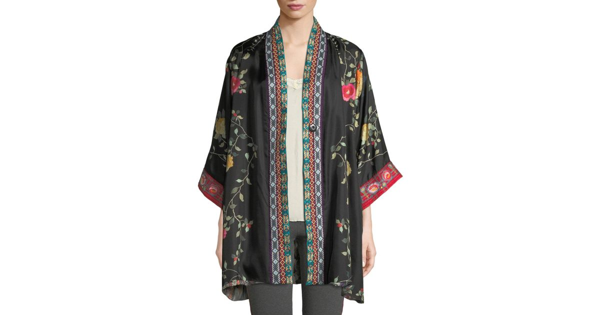 bd92cdbe54a Lyst - Johnny Was Rose Reversible Snap-front Silk Twill Kimono Jacket in  Black - Save 44.237918215613384%