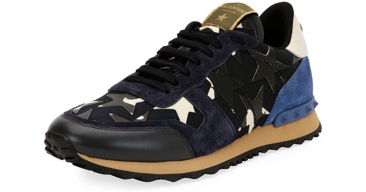 54c92b17eaef0 Lyst - Valentino Men s Rockrunner Camustars Leather Trainer Sneaker in Blue  for Men
