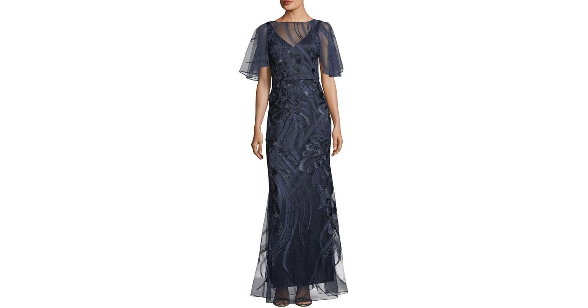 96cbb5ab1 David Meister Flutter-sleeve Embroidered Mesh Evening Gown in Blue - Lyst