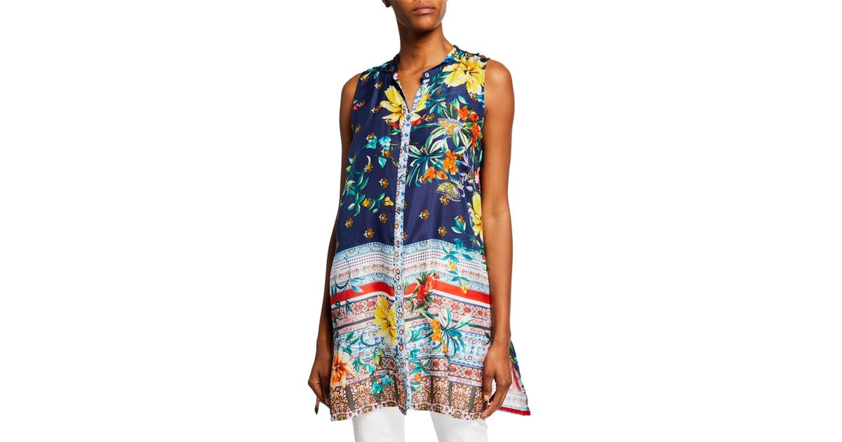 dc4c2fc26cf Lyst - Johnny Was Bernie Sleeveless Button-front Silk Georgette Tunic in  Blue - Save 9%