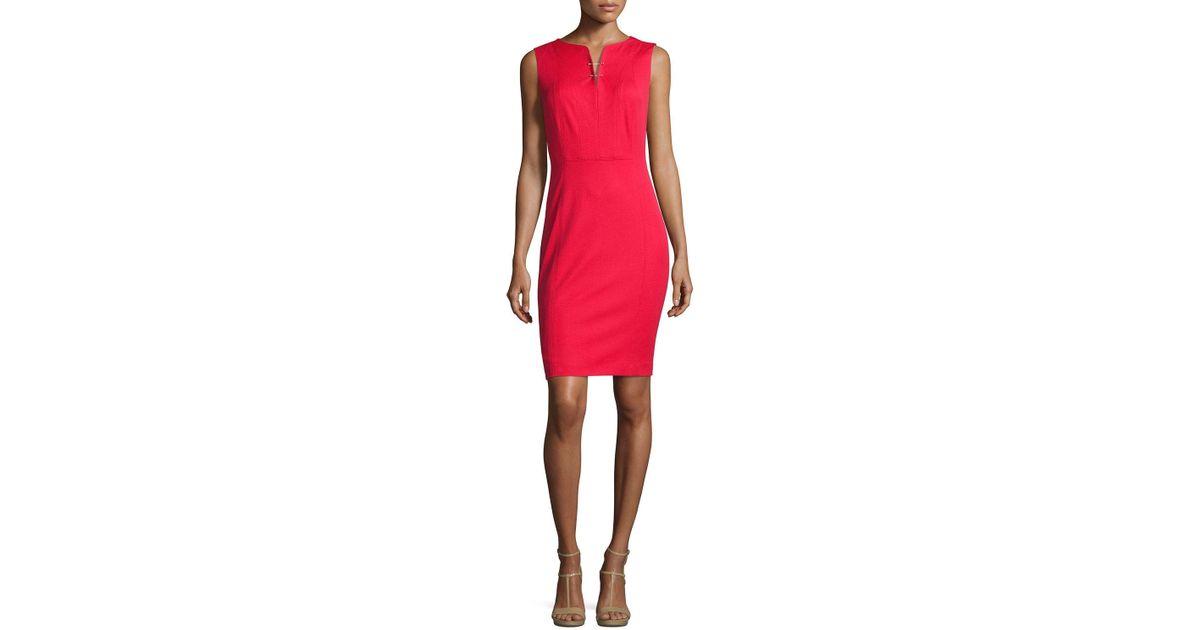96238861 Lyst - Elie Tahari Natanya Sleeveless Sheath Dress in Red
