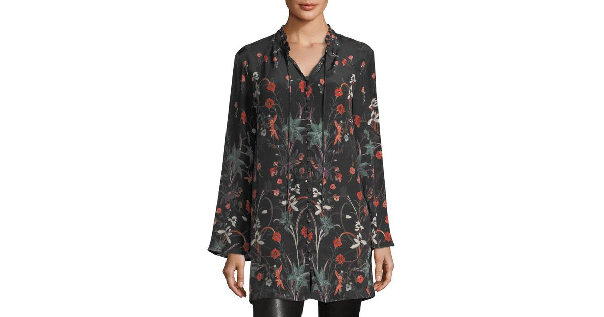 4c896ed053c076 Lyst - Tolani Whitney Long Floral-print Tunic in Black