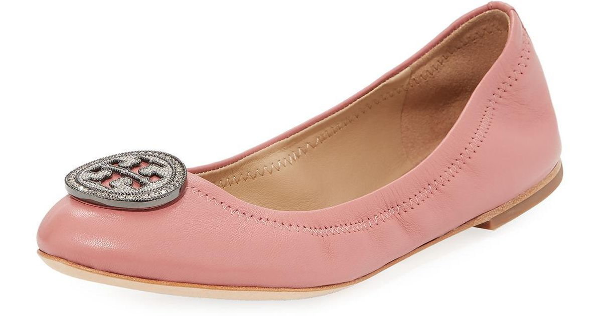 1c5458441c1 Tory Burch Liana Embellished Ballet Flats in Pink - Lyst