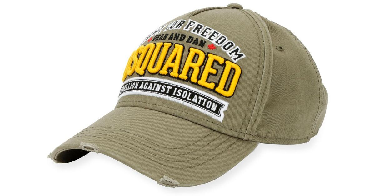 230bd15c6ddc08 DSquared² Fight For Freedom Cotton Baseball Cap in Green for Men - Lyst