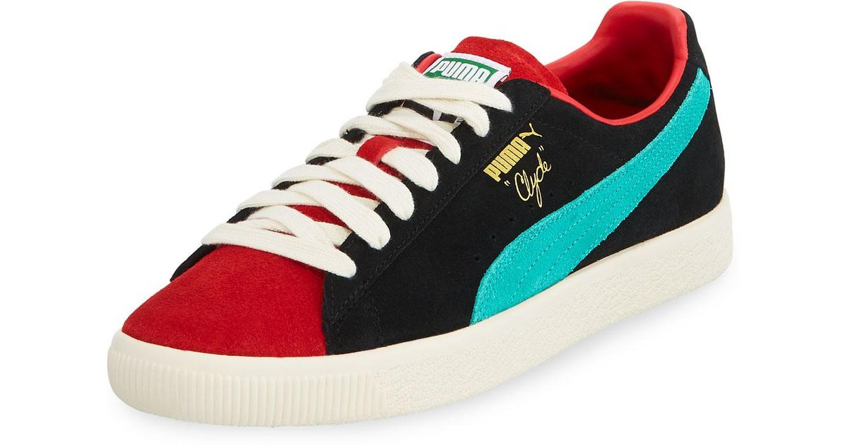 80d19c50d61 Lyst - PUMA Men s Clyde Colorblock Suede Platform Low-top Sneakers in Red  for Men
