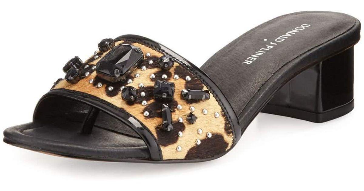71f9dc1f3c48 Lyst - Donald J Pliner Maxx Jeweled Low-heel Slide Sandal in Black