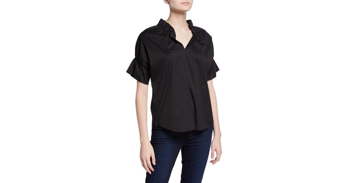 08b0779b560c41 Lyst - Finley Crosby Flounce Neck & Sleeve Silky Poplin Shirt in Black