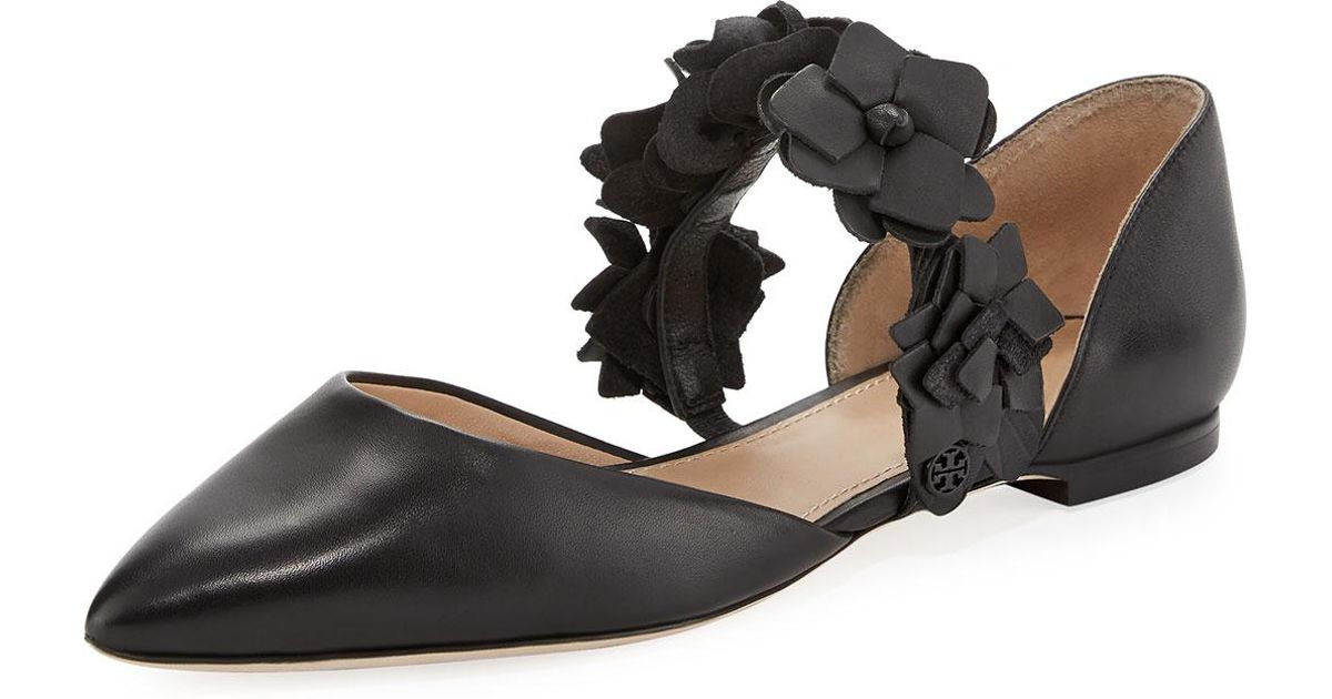 23a3009ba Lyst - Tory Burch Blossom Floral D orsay Flat in Black
