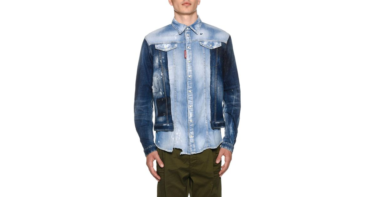 c0ec760971a Lyst - DSquared² Men s Mixed-wash Denim Shirt W  Jean Jacket Combo in Blue  for Men