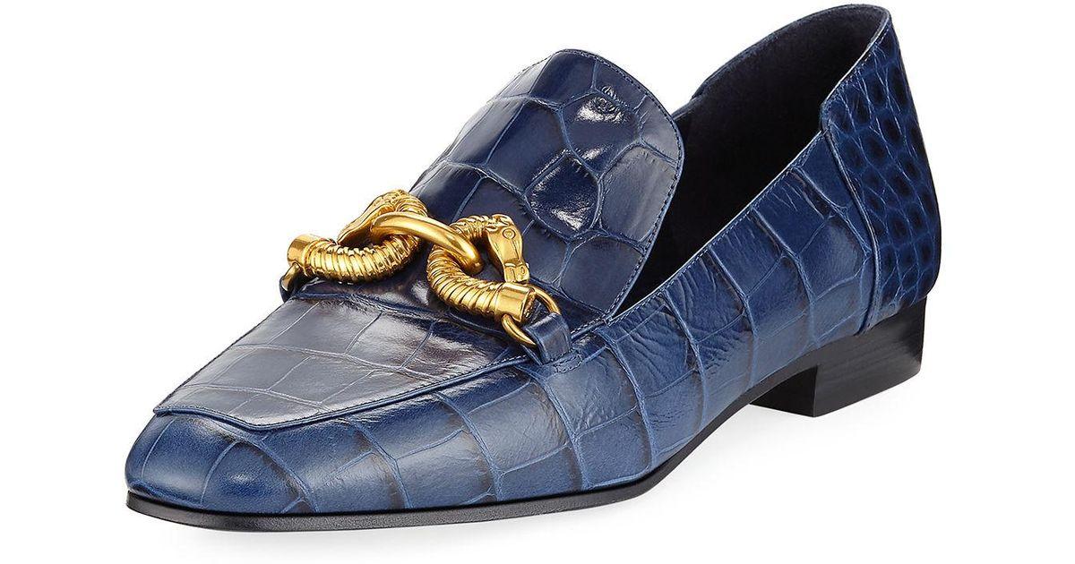 b513d0c1fed Lyst - Tory Burch Jessa Horse Head Crocodile-embossed Loafer in Blue