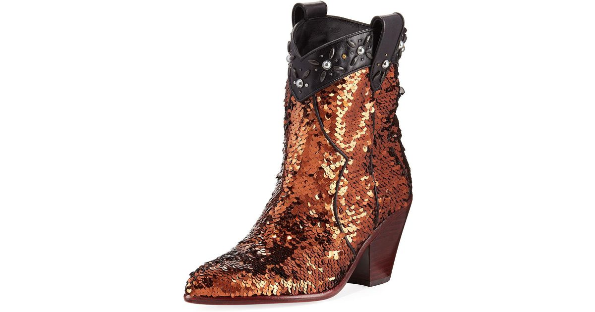 Coach Western Bootie With Sequins Coach Order Sale Online Low Shipping Cheap Online Clearance Reliable Discount Many Kinds Of Cheap Sale Footlocker Pictures Re9rL0