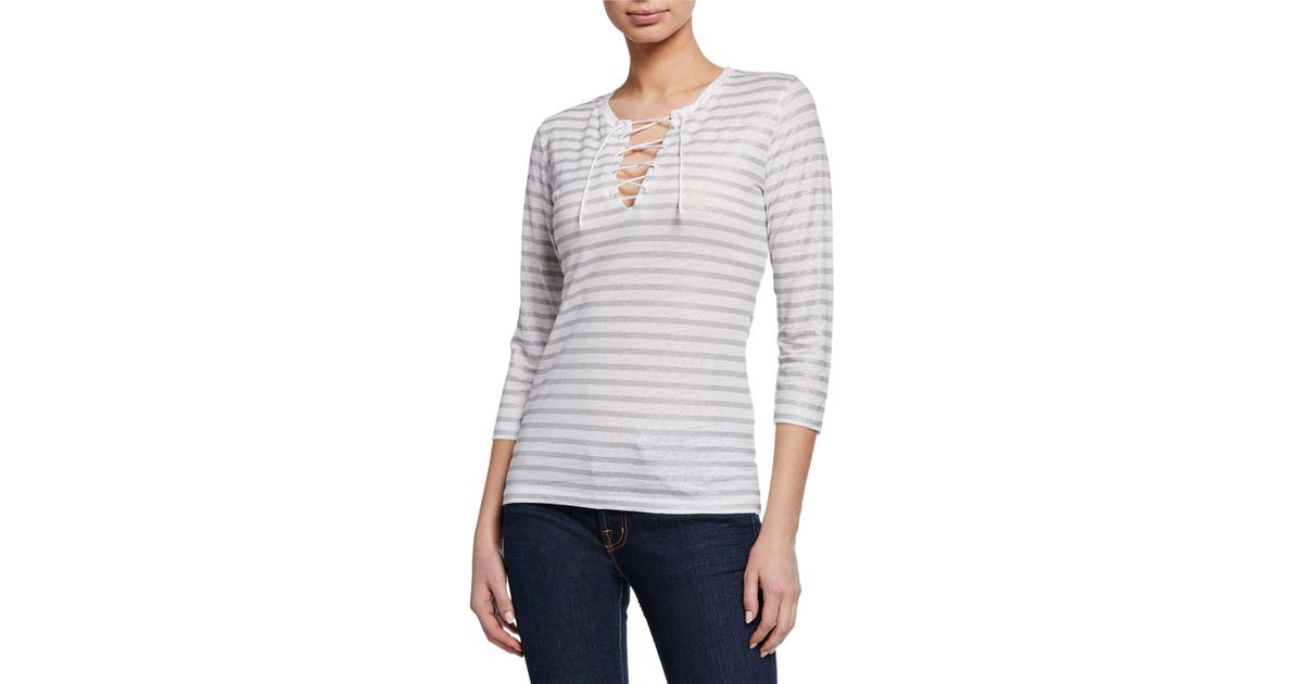 ea5185d9170 Lyst - Neiman Marcus Striped Lace-up V-neck 3/4-sleeve Stretch-linen Top in  Gray