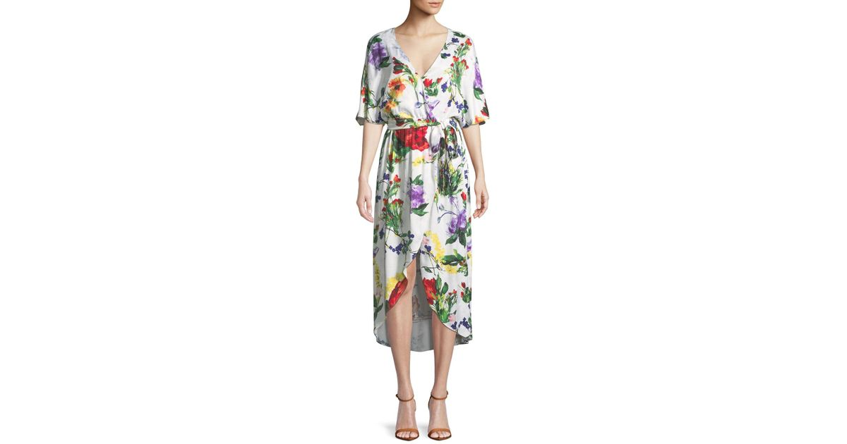 712801c6e1447 Alice + Olivia Clarine Floral-print Wrap Dress With Oversize Sleeves - Lyst
