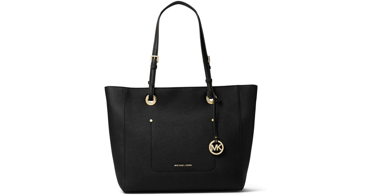 25fc0550e905 MICHAEL Michael Kors Walsh Large East-west Top-zip Tote Bag in Black - Lyst