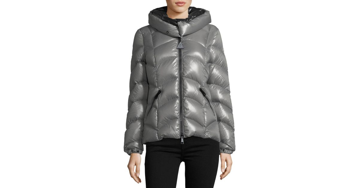 1cab10d73 Lyst - Moncler Akebia Hooded Wave Puffer Jacket in Gray
