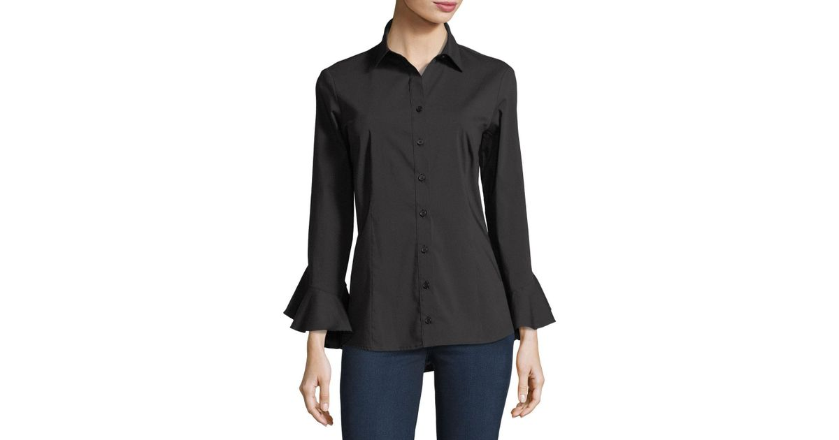 d0ab4ded929d09 Finley Carmella Silky Poplin Shirt in Black - Lyst