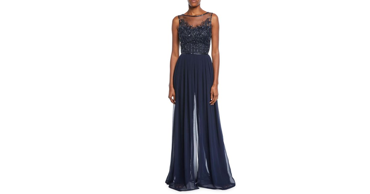 185960f631 Lyst - THEIA Bateau-neck Sleeveless Wide-leg Jumpsuit W  Sheer Beaded  Bodice in Blue