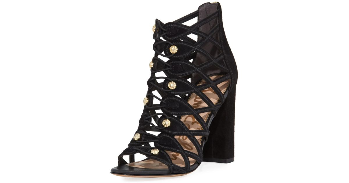 74f8f733e Lyst - Sam Edelman Yeager Military Caged Open-toe Bootie in Black