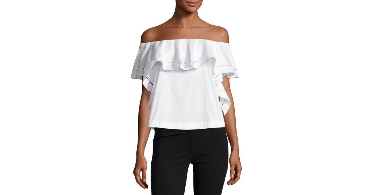 ae65c169e5b Lyst - Rachel Zoe Leanna Off-the-shoulder Ruffle Top Ecru in White