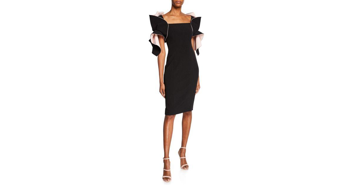 10a74e76 Badgley Mischka Two-tone Organza Ruffle-sleeve Sheath Dress in Black - Lyst
