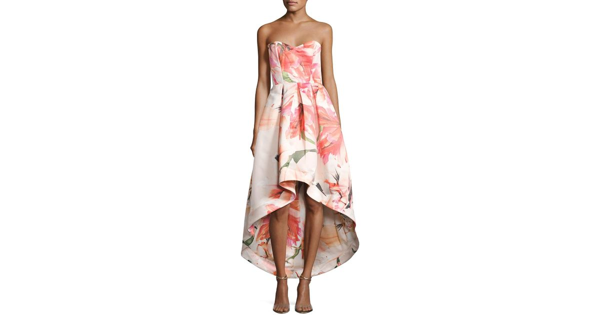 Lyst - Parker Black Roxanne Strapless Floral Satin High-low Gown in Pink
