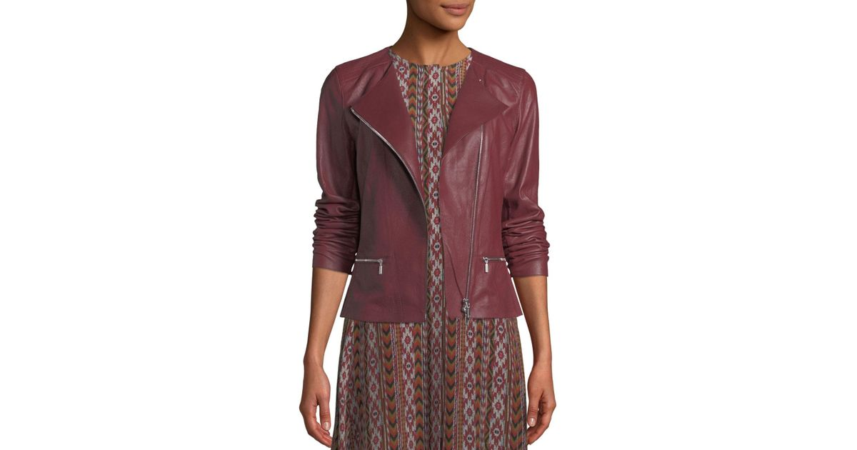 6e3f5e1bf91 Lyst - Lafayette 148 New York Trista Zip-front Weathered Lambskin Leather  Jacket W  Jersey Combo - Save 49.23664122137404%