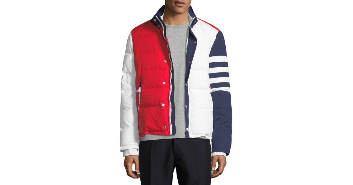395d4cb5e Thom Browne - Red Tricolor Puffer Jacket With 4-bar Stripes for Men - Lyst
