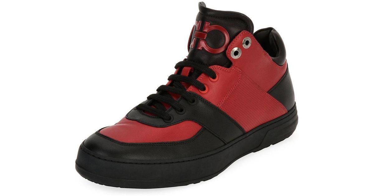 2f90c21fb4692 Lyst - Ferragamo Monroe Men s Leather Mid-top Sneaker in Red for Men