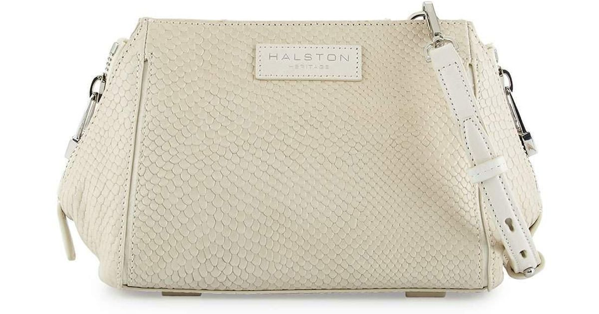 e0f50d620fa4 Lyst - Halston Heritage Lizard-embossed Leather Crossbody Bag in White