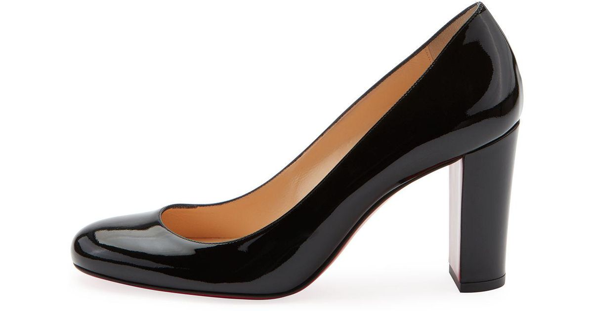 7ece0f8f4979 Lyst - Christian Louboutin Lady Gena Patent Red Sole Pumps in Black