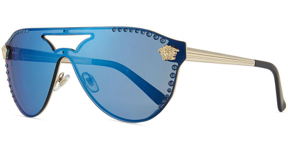 f4c2bc682b Lyst - Versace Mirrored Crystal-studded Shield Sunglasses in Blue for Men