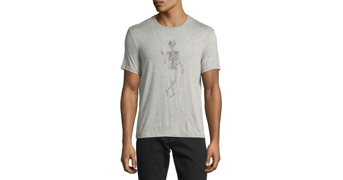 e34ab186 John Varvatos Skeleton Peace-sign Graphic T-shirt in Gray for Men - Lyst