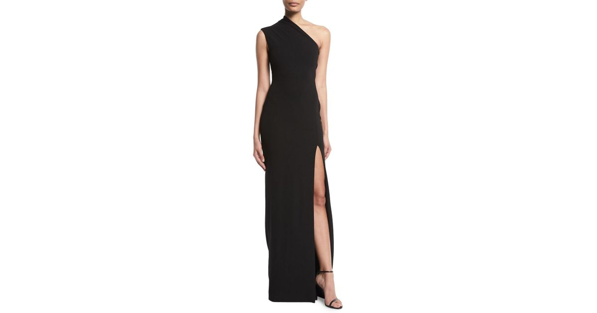 b0bbb3bb4d Lyst - Solace London Averie One-shoulder Side-slit Maxi Dress in Black