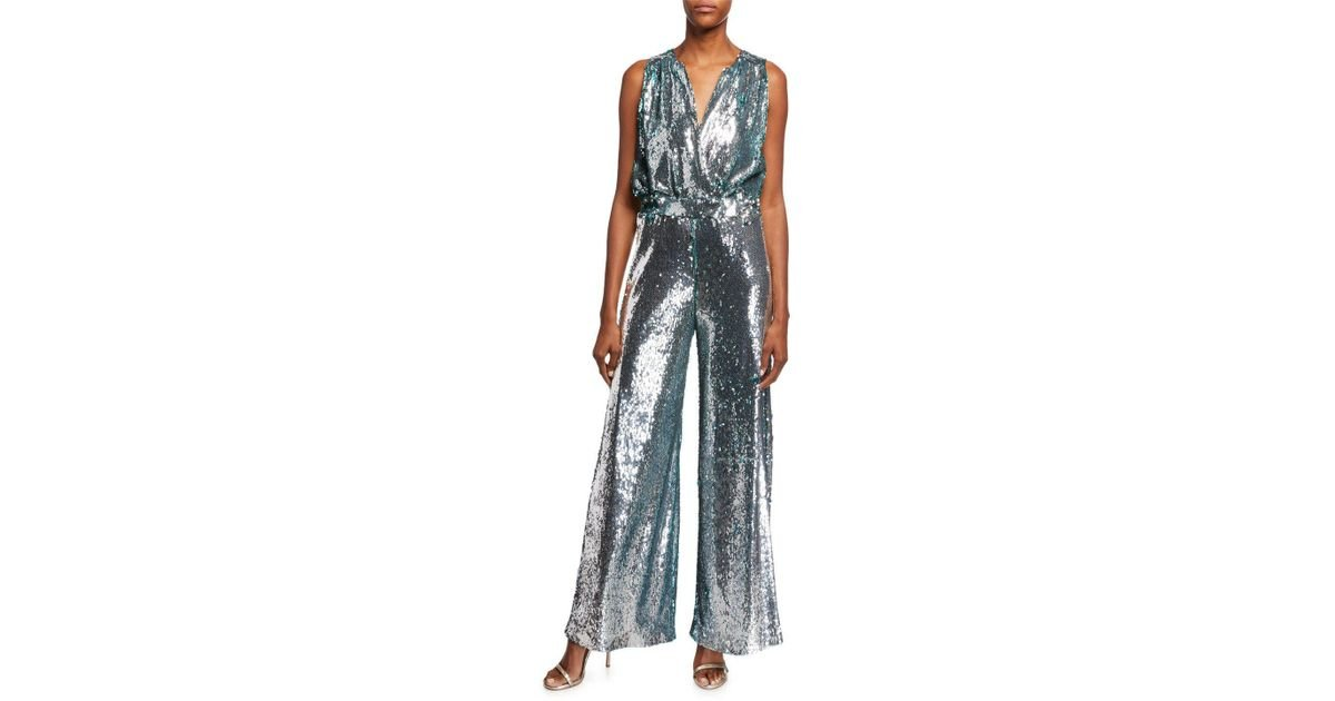 41db8e736f72 Lyst - Carolina Ritzler Irma Sleeveless Surplice Wide-leg Allover Sequin  Jumpsuit in Metallic