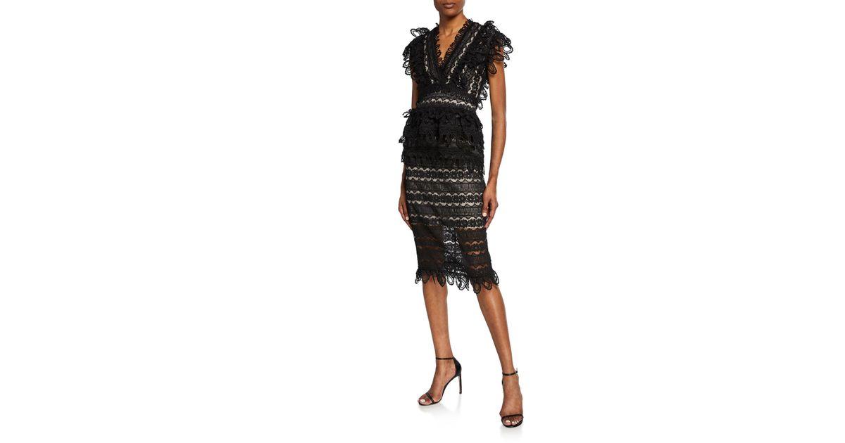 0a552f318f23 Lyst - Elliatt Terrace Two-tone Lace Short-sleeve Top & Skirt Set in Black